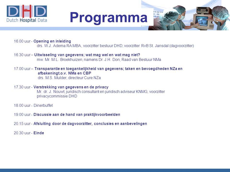 Programma 16.00 uur - Opening en inleiding