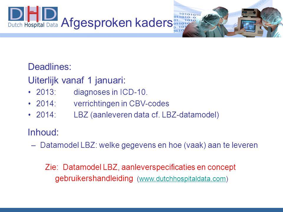Inhoud: Deadlines: Uiterlijk vanaf 1 januari: Afgesproken kaders