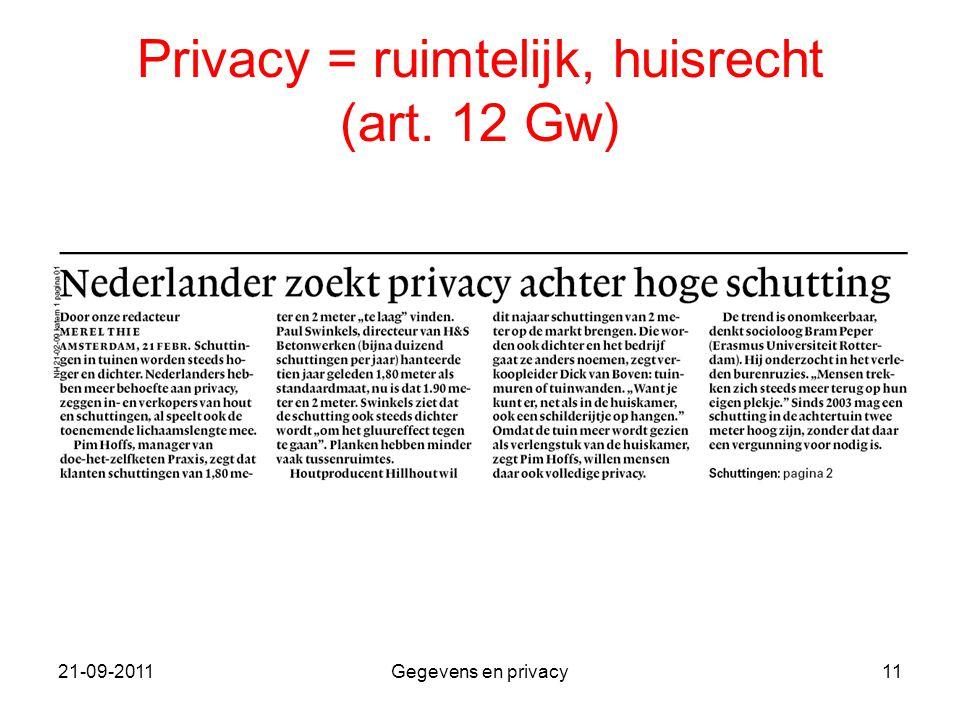 Privacy = ruimtelijk, huisrecht (art. 12 Gw)