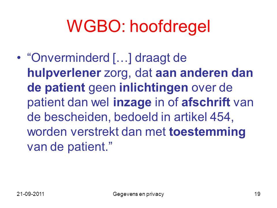 WGBO: hoofdregel