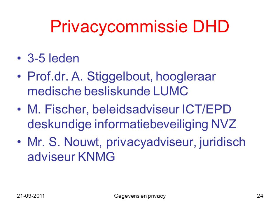 Privacycommissie DHD 3-5 leden