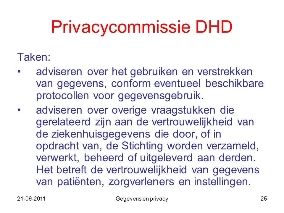 Privacycommissie DHD Taken: