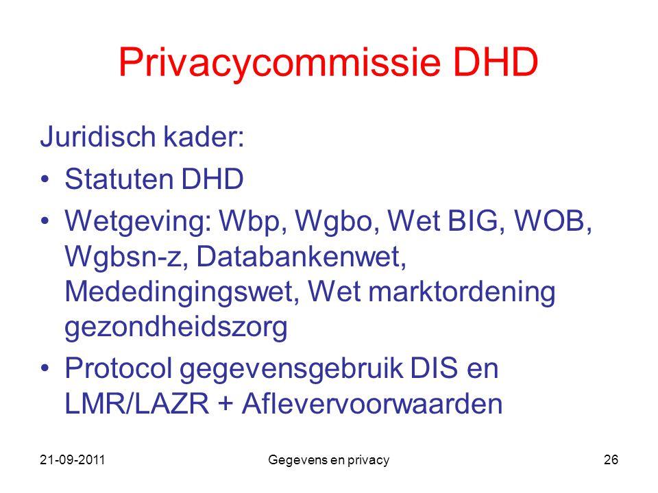 Privacycommissie DHD Juridisch kader: Statuten DHD