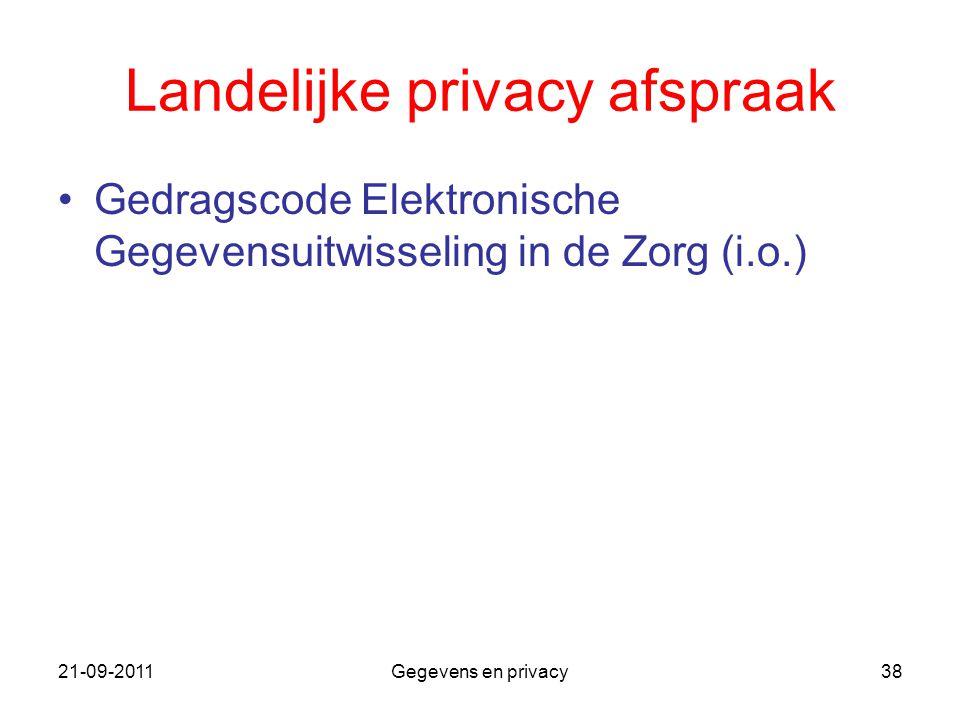 Landelijke privacy afspraak