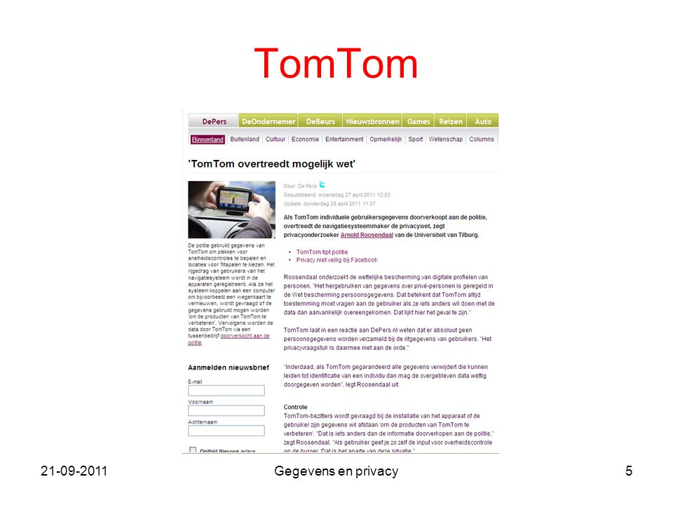 TomTom 21-09-2011 Gegevens en privacy