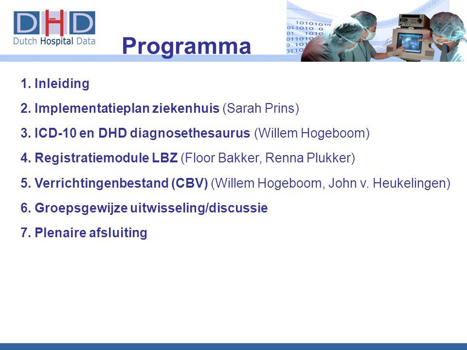Programma 1. Inleiding 2. Implementatieplan ziekenhuis (Sarah Prins)