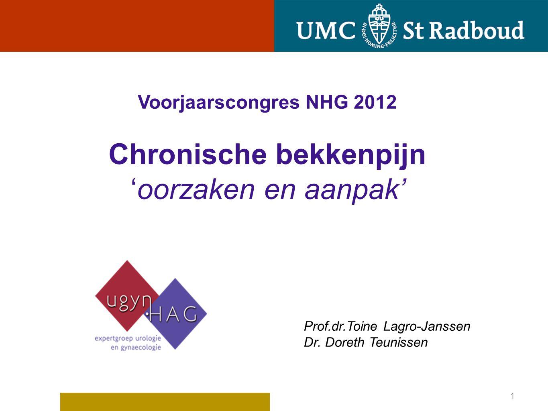 Voorjaarscongres NHG 2012 Chronische bekkenpijn 'oorzaken en aanpak'