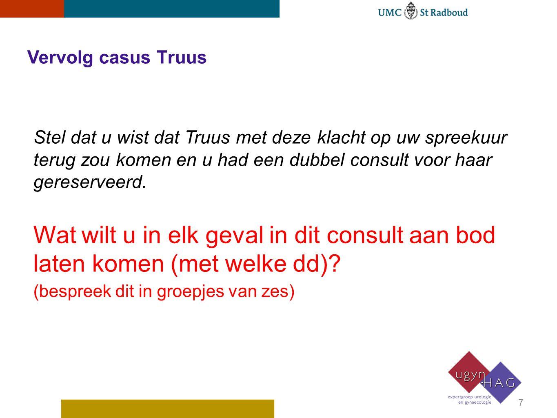 Vervolg casus Truus Stel dat u wist dat Truus met deze klacht op uw spreekuur terug zou komen en u had een dubbel consult voor haar gereserveerd.