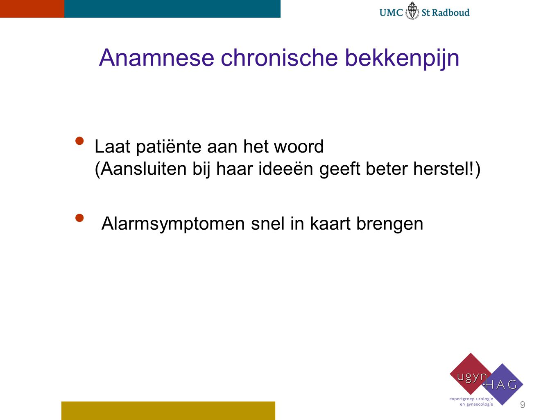 Anamnese chronische bekkenpijn