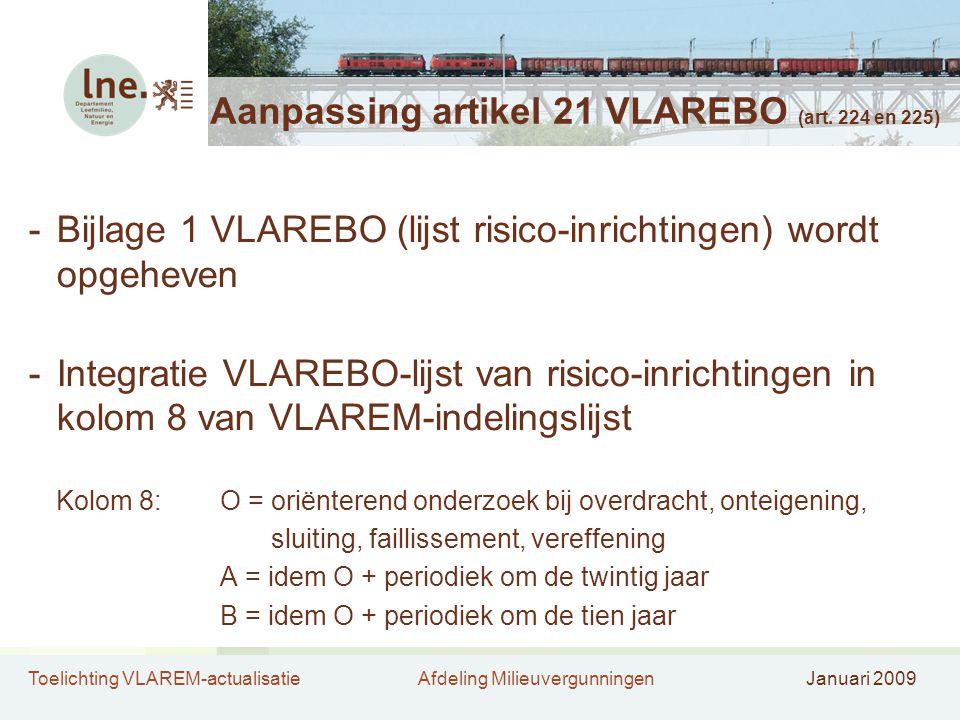 Aanpassing artikel 21 VLAREBO (art. 224 en 225)