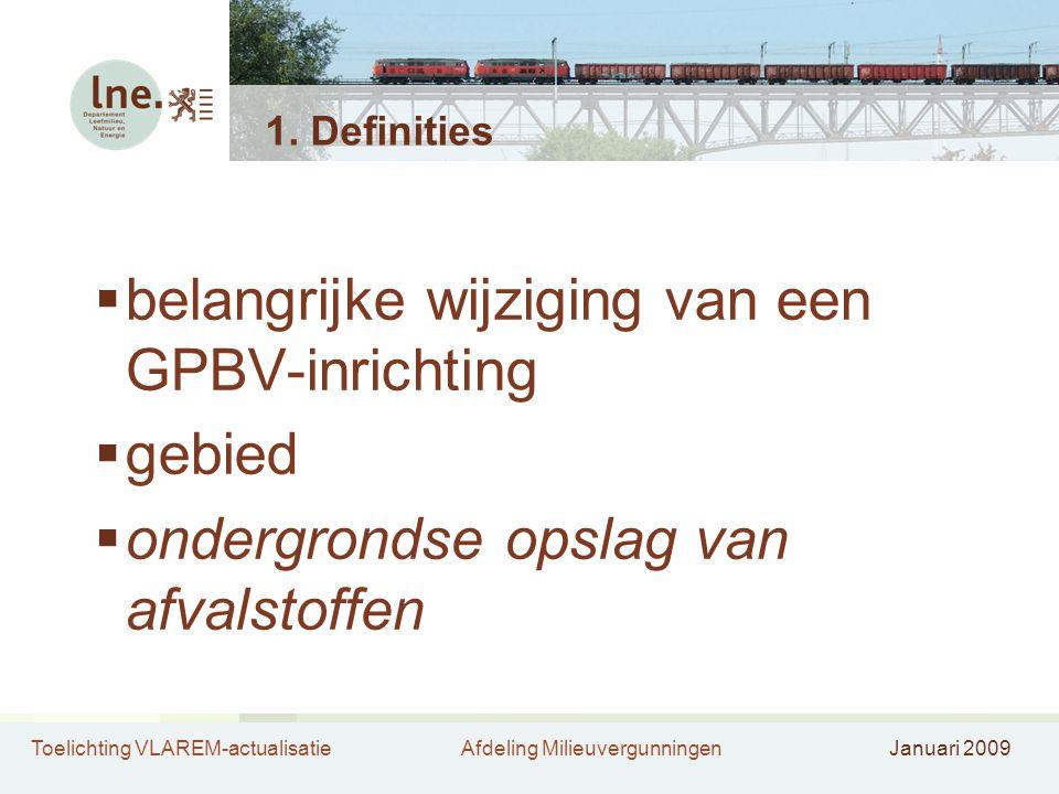 belangrijke wijziging van een GPBV-inrichting gebied