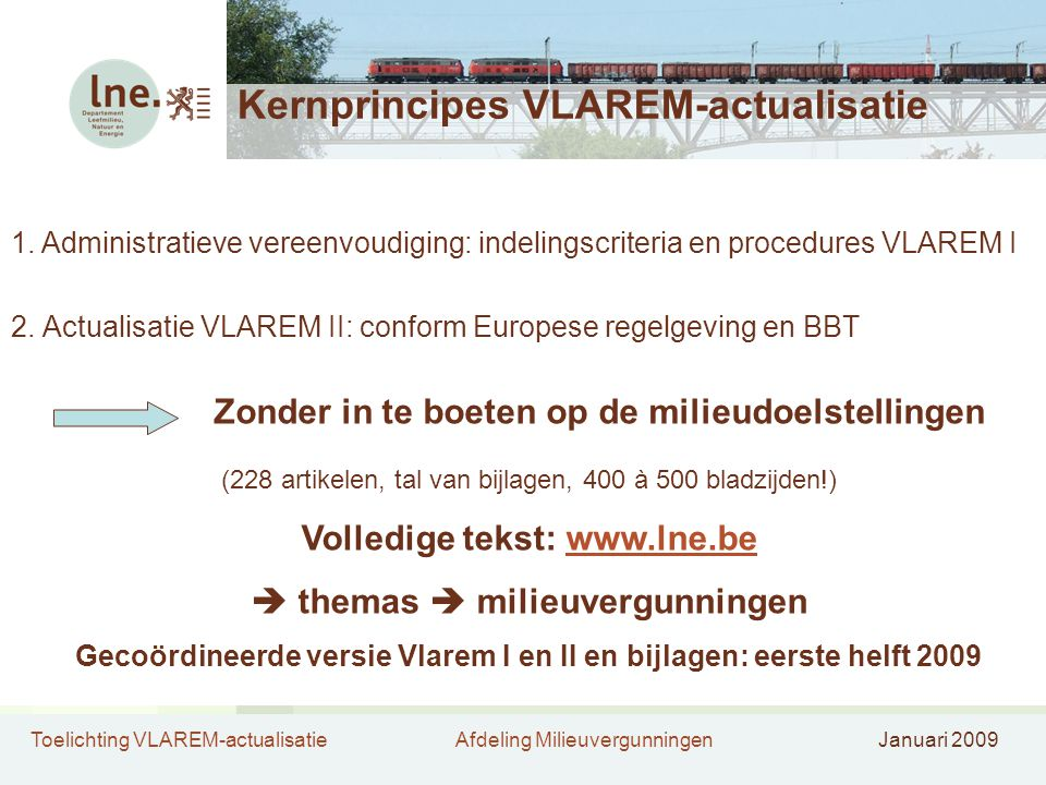 Kernprincipes VLAREM-actualisatie