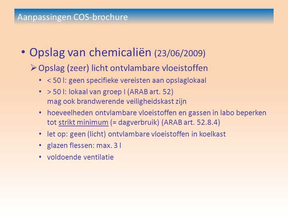 Aanpassingen COS-brochure