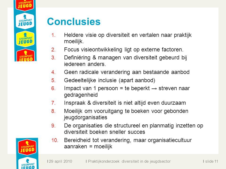 Conclusies Heldere visie op diversiteit en vertalen naar praktijk moeilijk. Focus visieontwikkeling ligt op externe factoren.