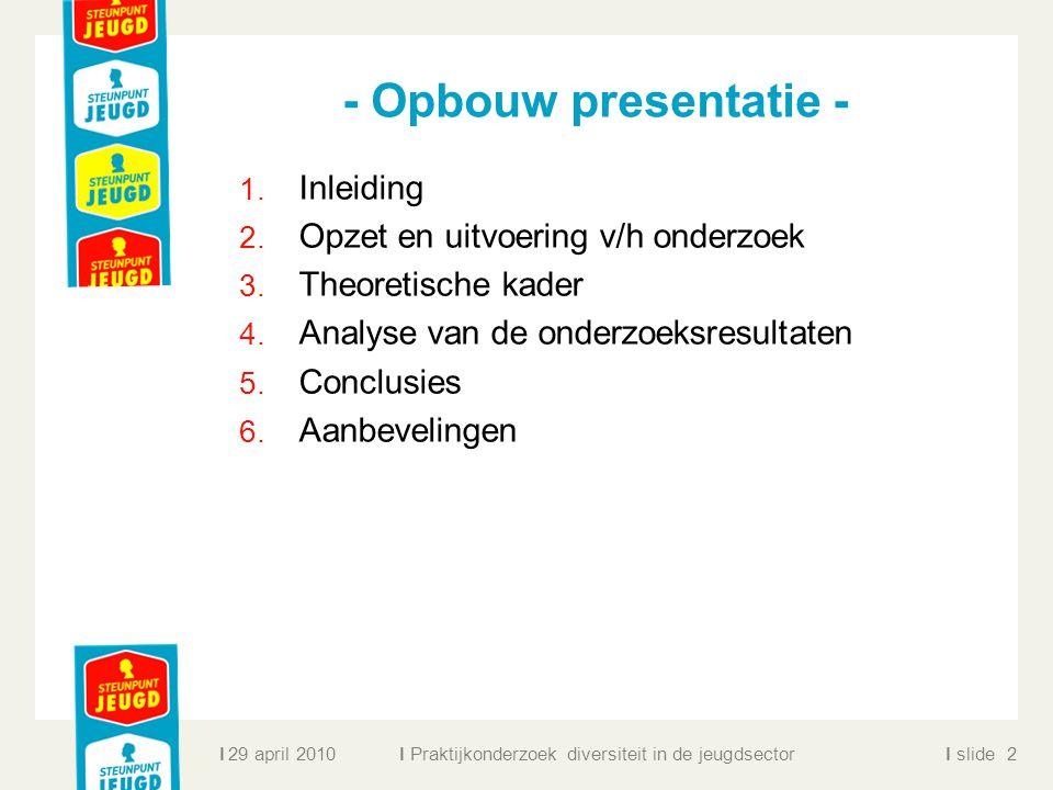 - Opbouw presentatie - Inleiding Opzet en uitvoering v/h onderzoek