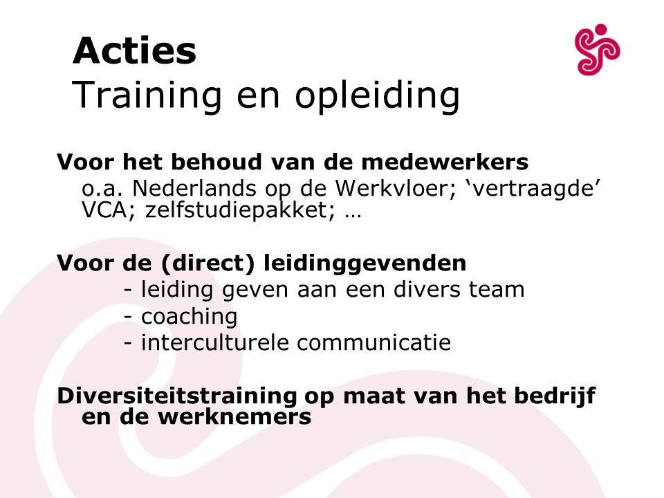 Acties Training en opleiding