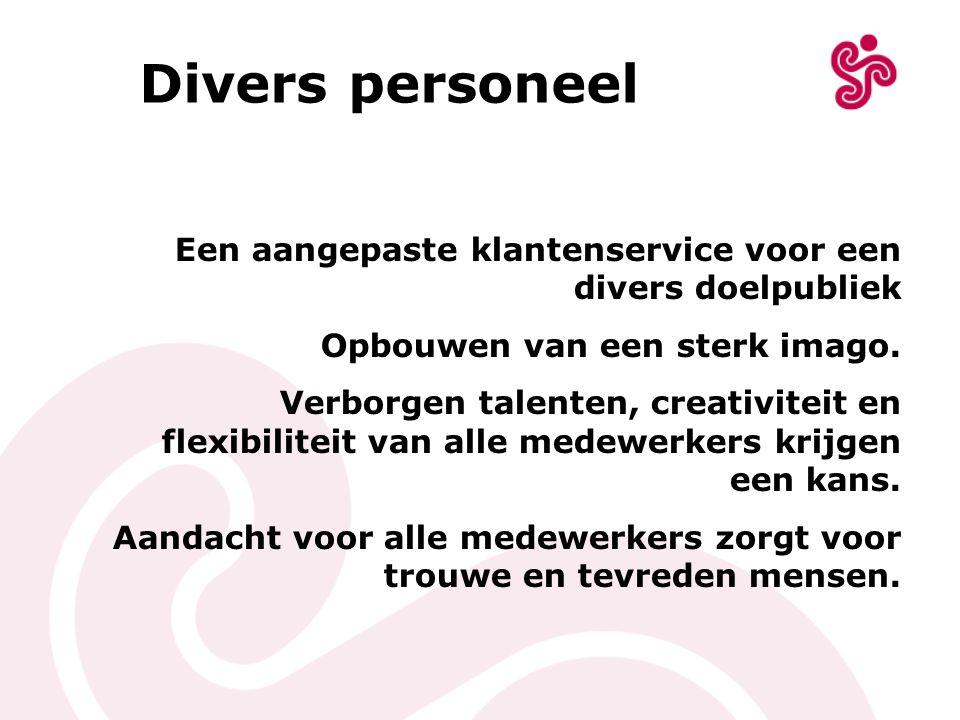 Divers personeel Een aangepaste klantenservice voor een divers doelpubliek. Opbouwen van een sterk imago.