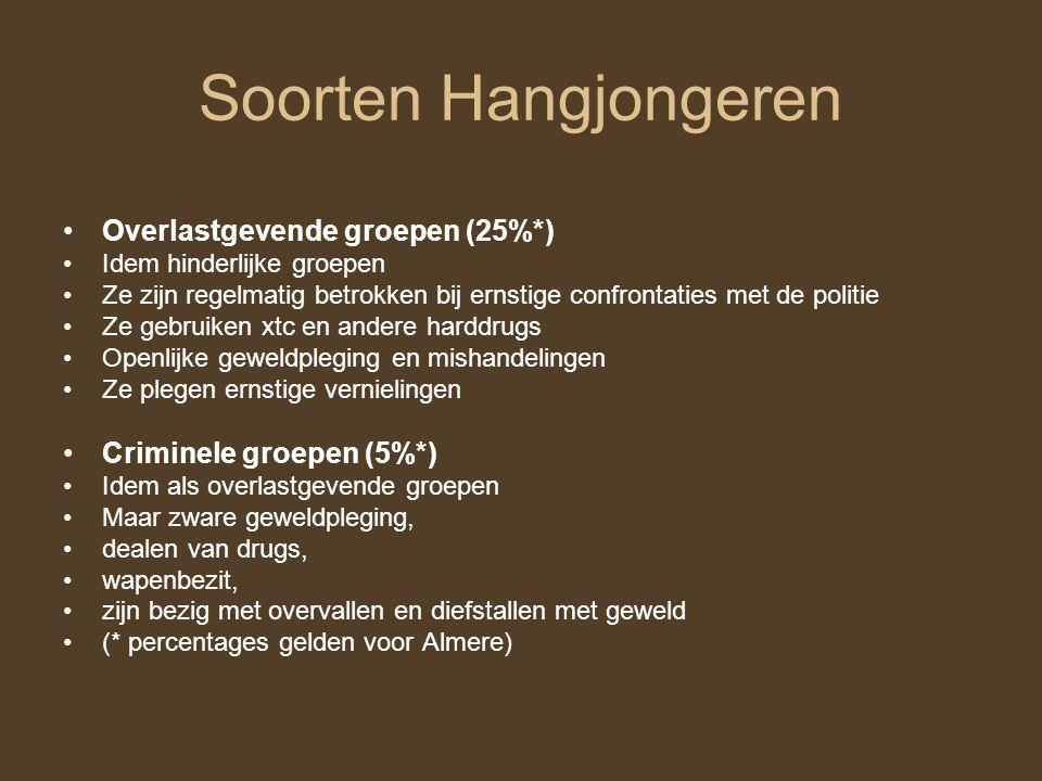 Soorten Hangjongeren Overlastgevende groepen (25%*)
