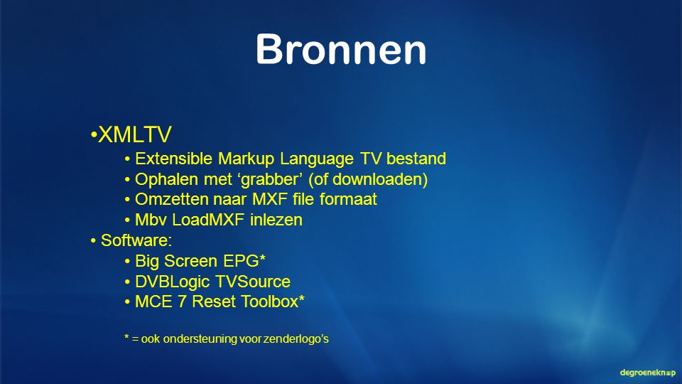 Bronnen XMLTV Extensible Markup Language TV bestand