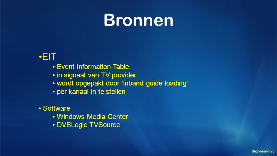 Bronnen EIT Event Information Table in signaal van TV provider