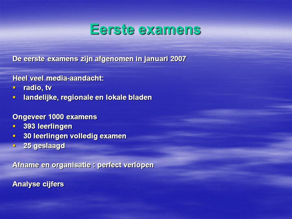 Eerste examens De eerste examens zijn afgenomen in januari 2007