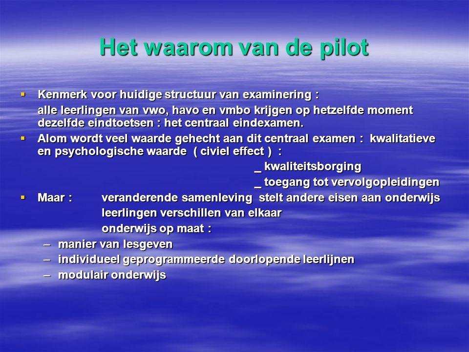 Het waarom van de pilot Kenmerk voor huidige structuur van examinering :