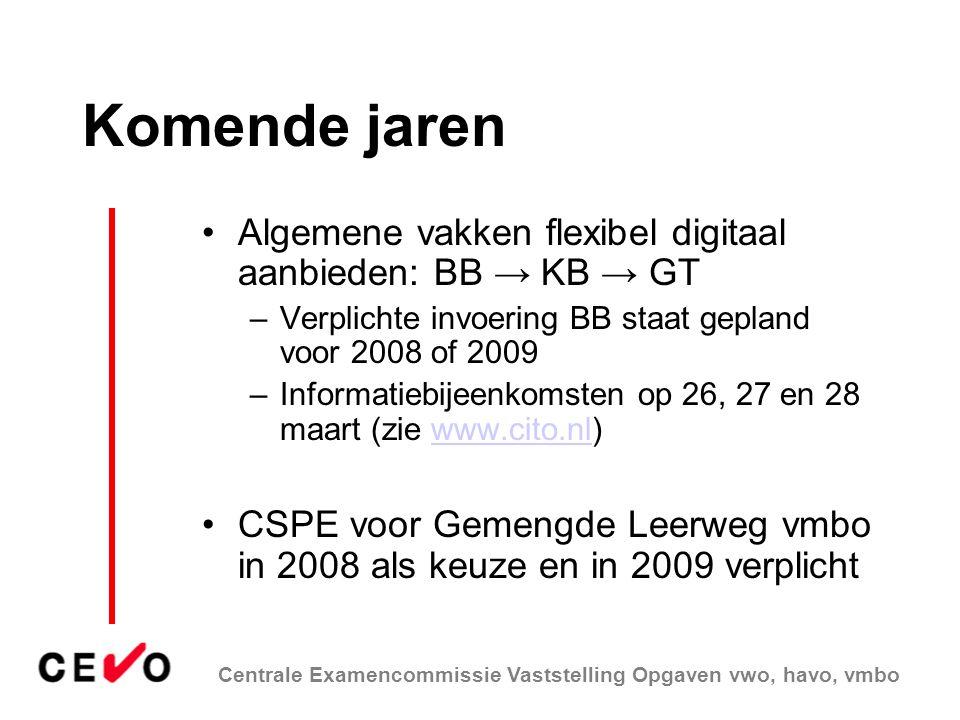 Komende jaren Algemene vakken flexibel digitaal aanbieden: BB → KB → GT. Verplichte invoering BB staat gepland voor 2008 of 2009.