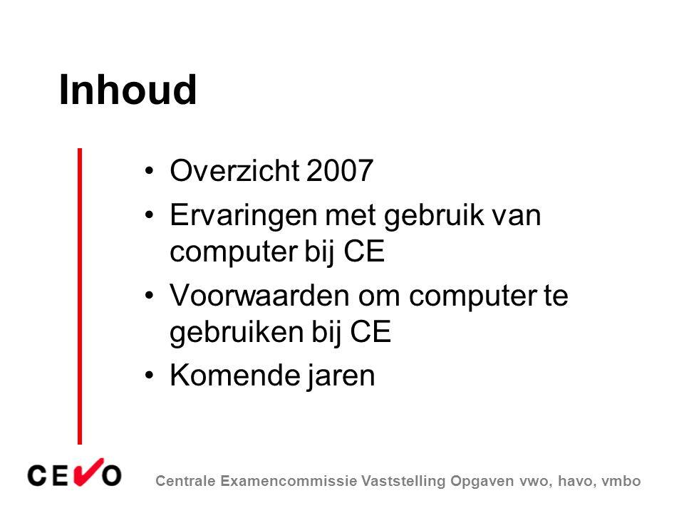 Inhoud Overzicht 2007 Ervaringen met gebruik van computer bij CE