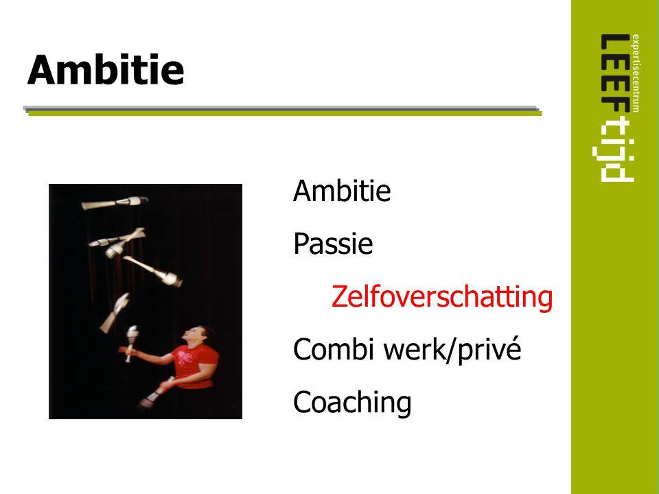 Ambitie Ambitie Passie Zelfoverschatting Combi werk/privé Coaching