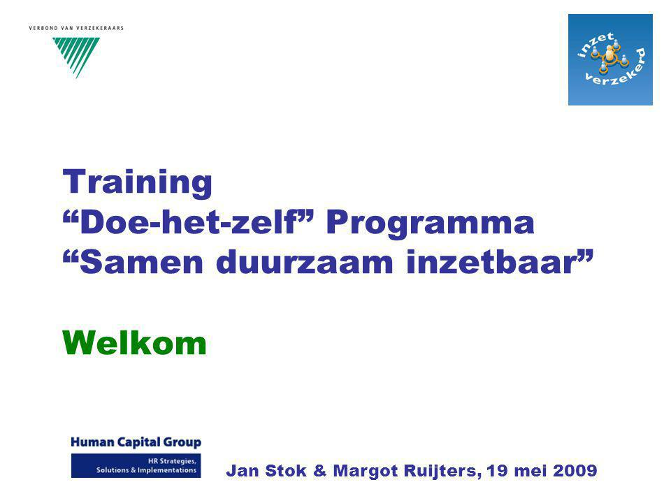 Training Doe-het-zelf Programma Samen duurzaam inzetbaar Welkom