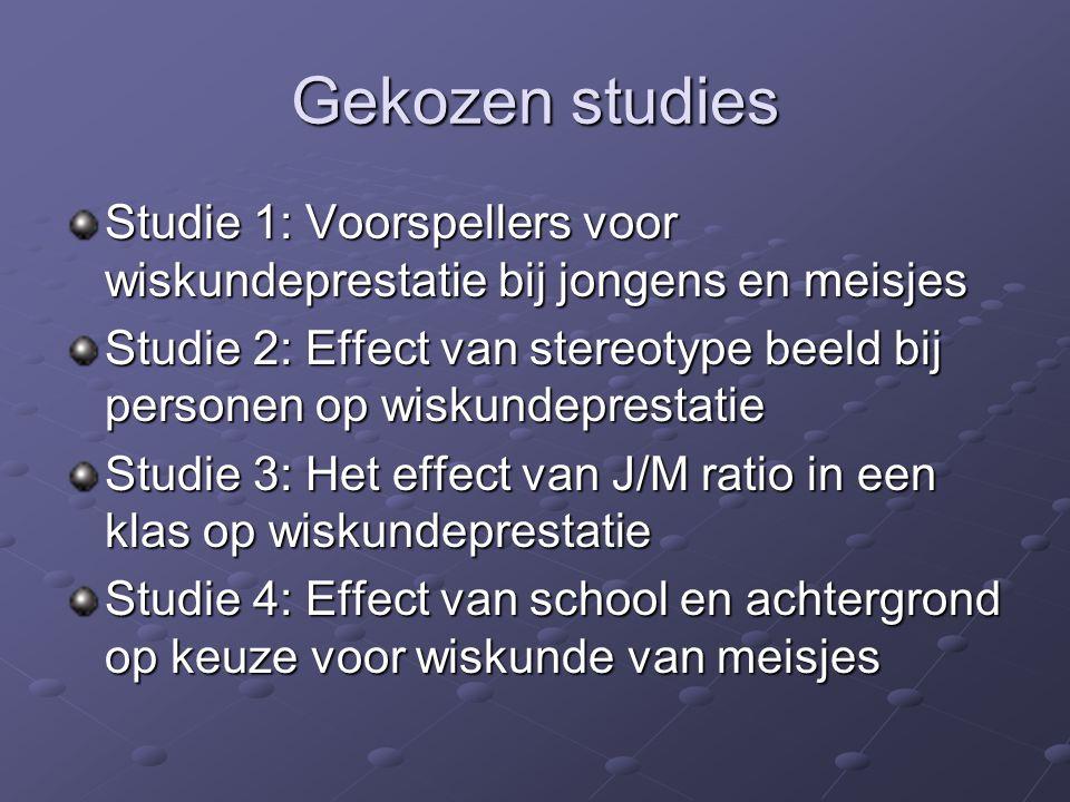 Gekozen studies Studie 1: Voorspellers voor wiskundeprestatie bij jongens en meisjes.