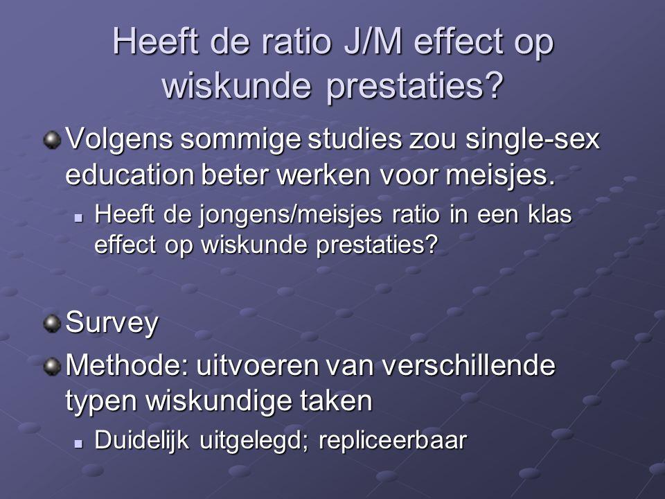 Heeft de ratio J/M effect op wiskunde prestaties