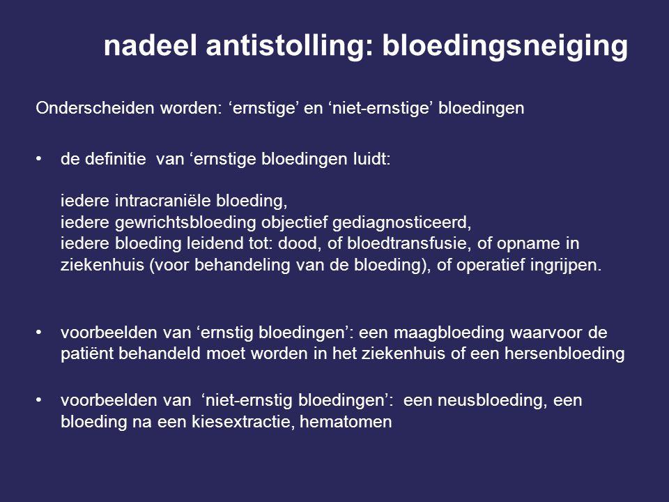 nadeel antistolling: bloedingsneiging