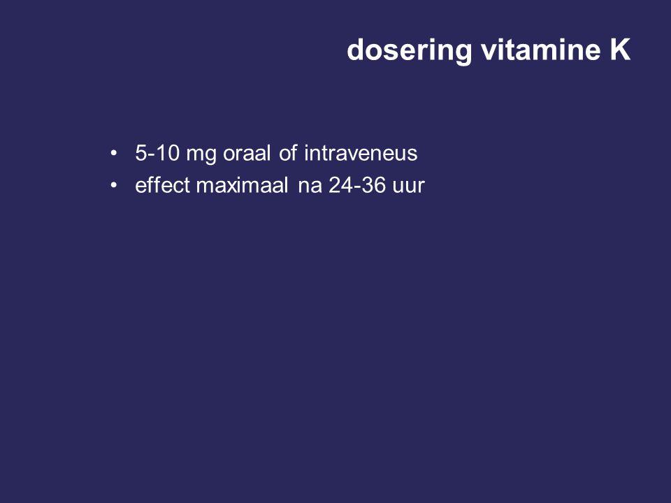 dosering vitamine K 5-10 mg oraal of intraveneus