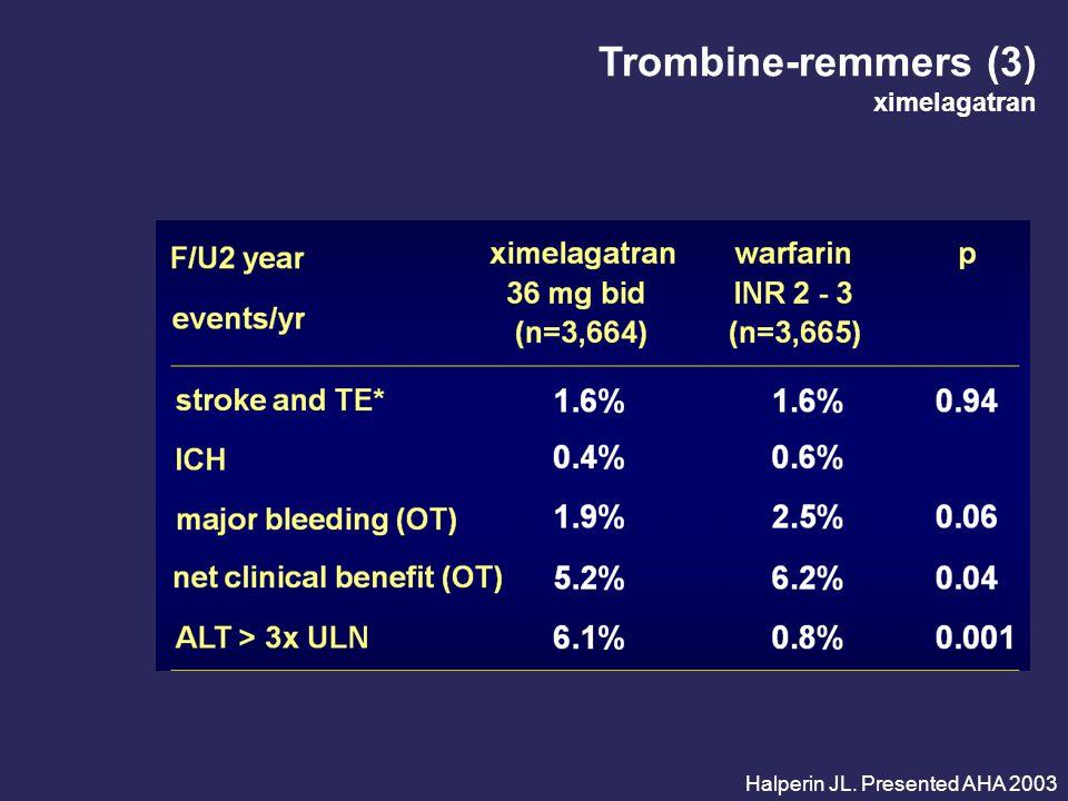 Trombine-remmers (3) ximelagatran Halperin JL. Presented AHA 2003