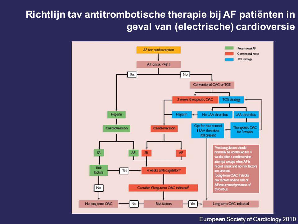 Richtlijn tav antitrombotische therapie bij AF patiënten in geval van (electrische) cardioversie
