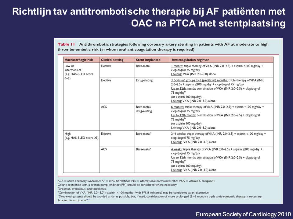 Richtlijn tav antitrombotische therapie bij AF patiënten met OAC na PTCA met stentplaatsing