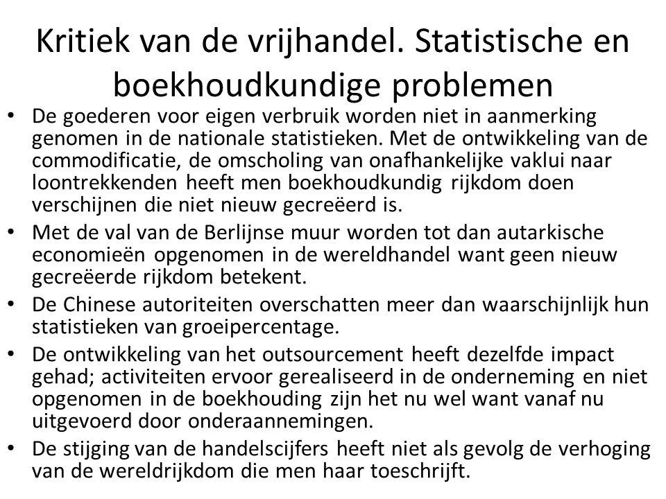 Kritiek van de vrijhandel. Statistische en boekhoudkundige problemen