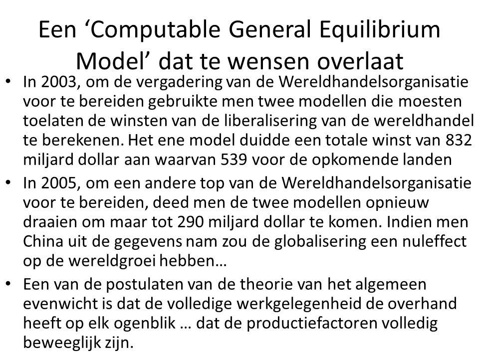 Een 'Computable General Equilibrium Model' dat te wensen overlaat