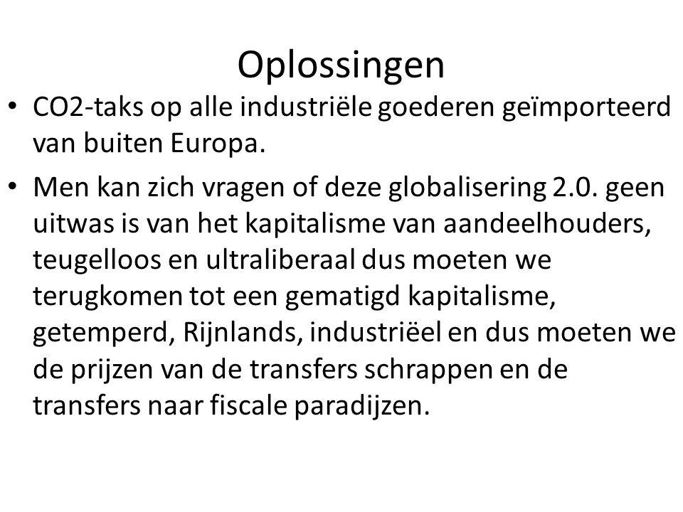 Oplossingen CO2-taks op alle industriële goederen geïmporteerd van buiten Europa.
