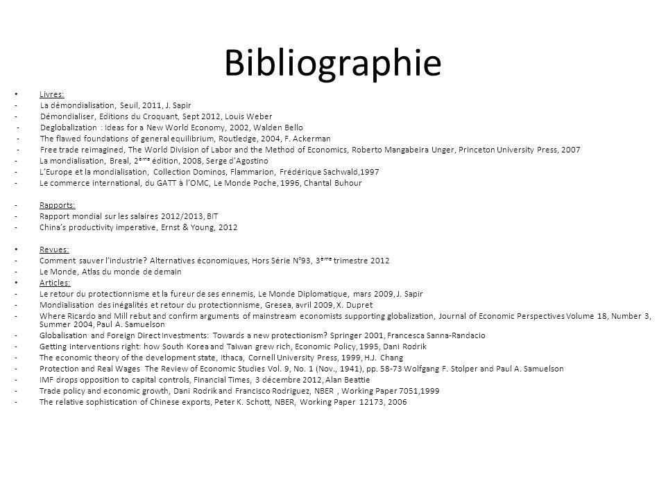 Bibliographie Livres: - La démondialisation, Seuil, 2011, J. Sapir