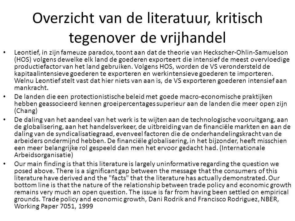 Overzicht van de literatuur, kritisch tegenover de vrijhandel