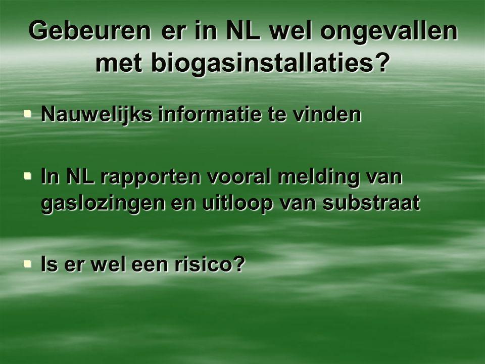 Gebeuren er in NL wel ongevallen met biogasinstallaties