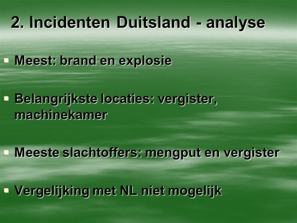 2. Incidenten Duitsland - analyse