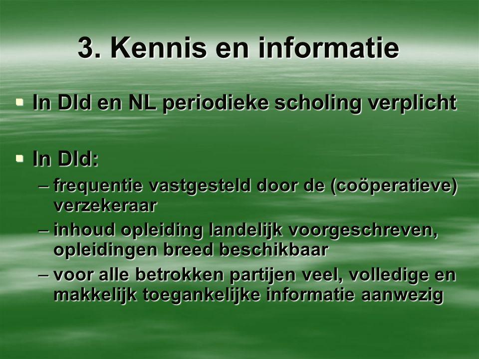 3. Kennis en informatie In Dld en NL periodieke scholing verplicht
