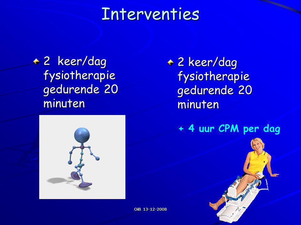 Interventies 2 keer/dag fysiotherapie gedurende 20 minuten