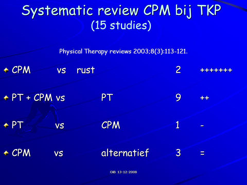 Systematic review CPM bij TKP (15 studies)