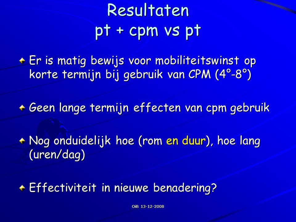 Resultaten pt + cpm vs pt