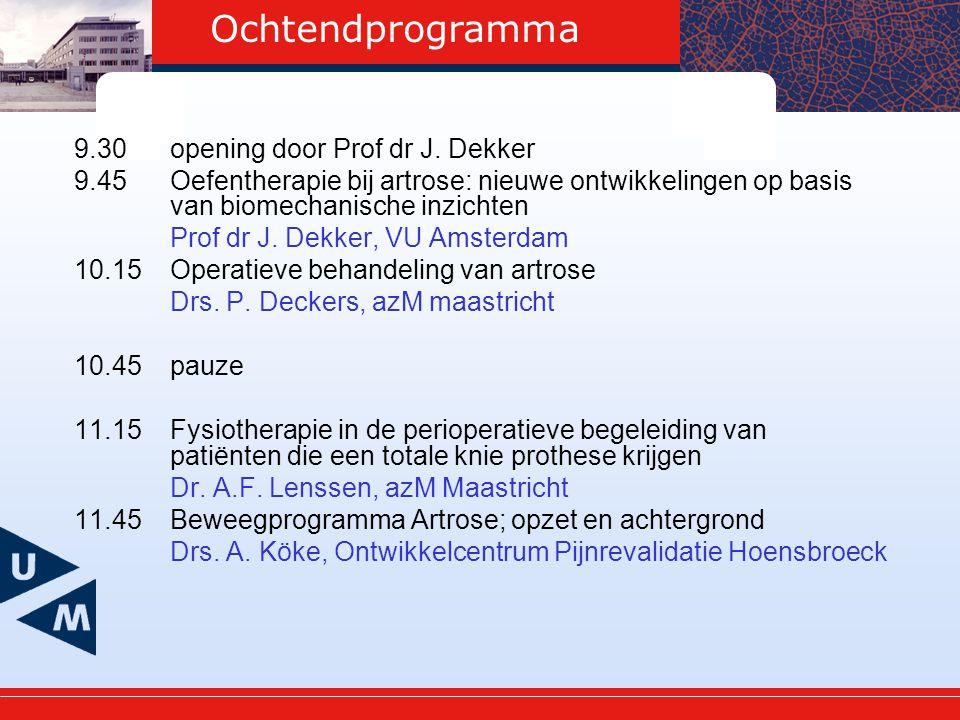 Ochtendprogramma 9.30 opening door Prof dr J. Dekker