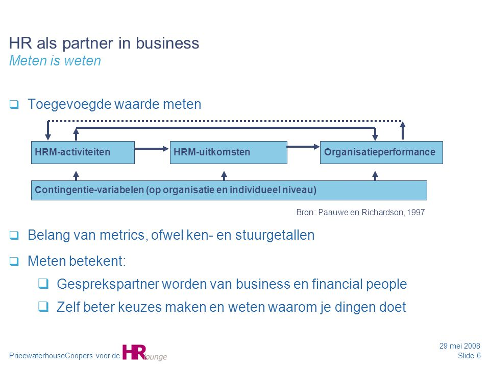 HR als partner in business Meten is weten